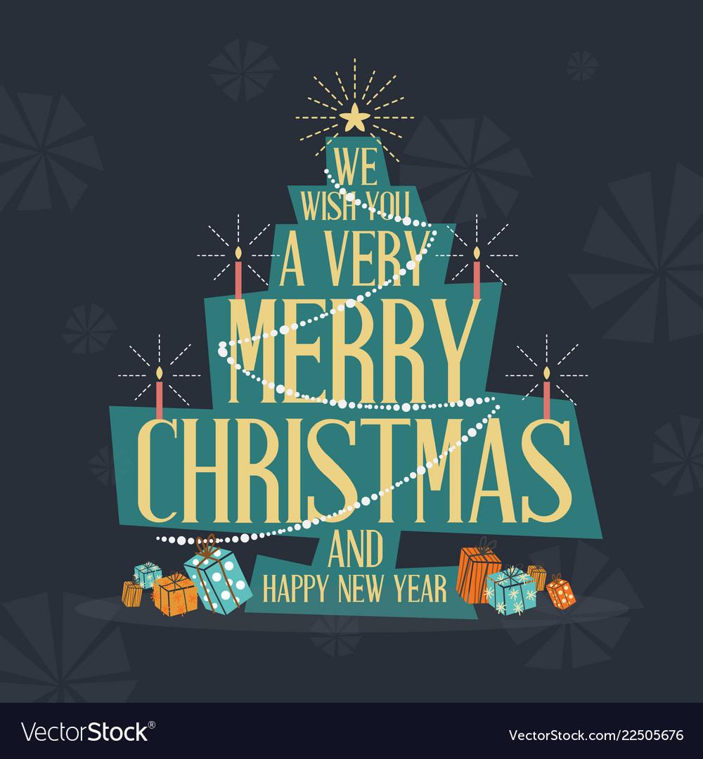 mid century modern merry christmas greeting card vector image