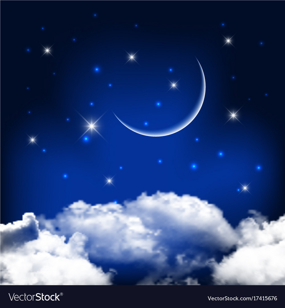 Night sky background with moon above clouds
