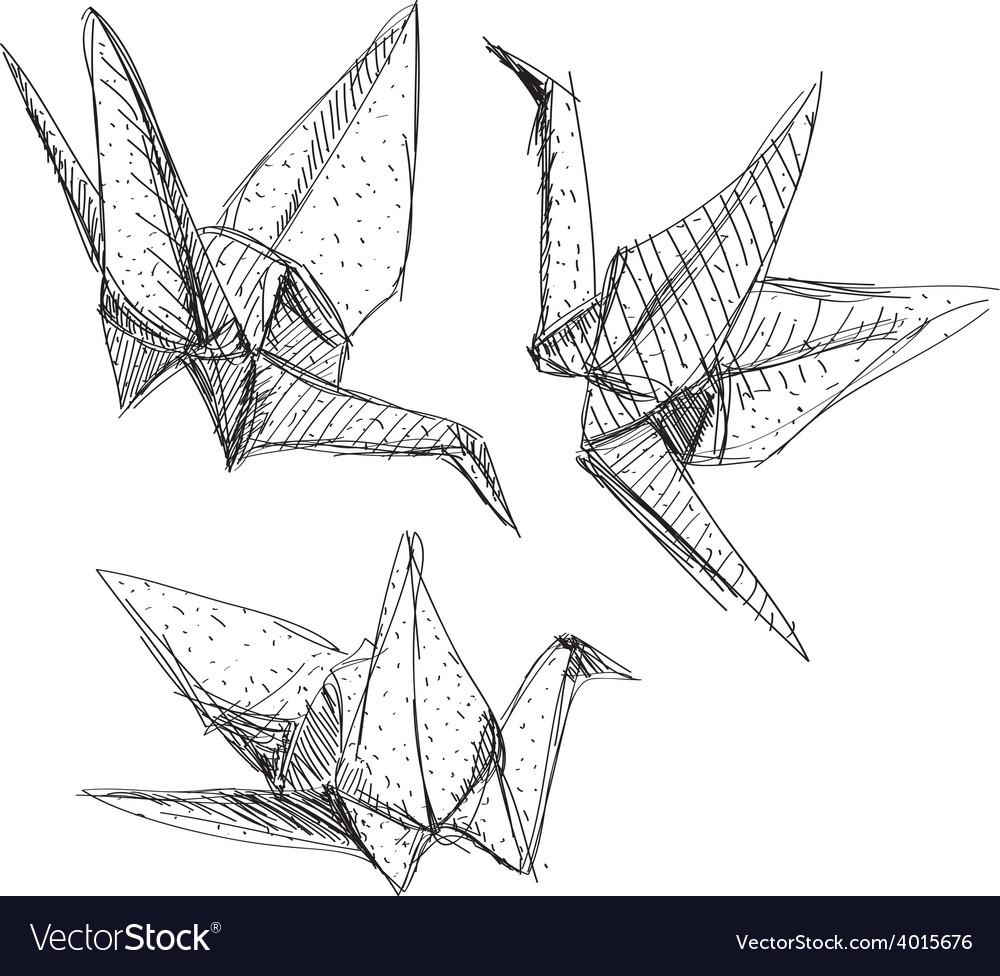 Origami paper cranes set sketch The black line on