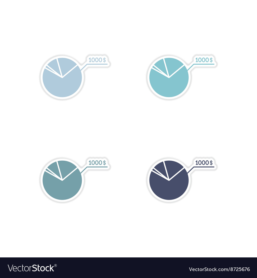 Set of paper stickers on white background economic