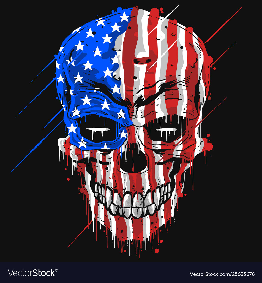 Skull head america flag usa color with grunge ed