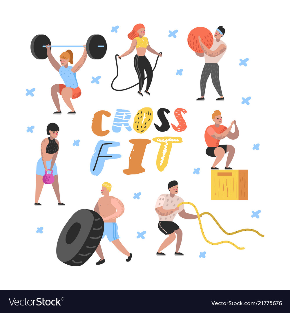 Sport gym flat people characters fitness