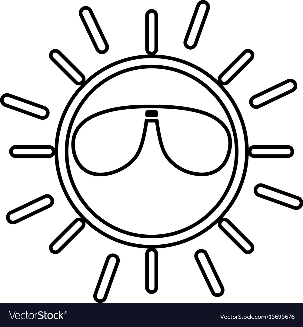 Sun with sunglasses character