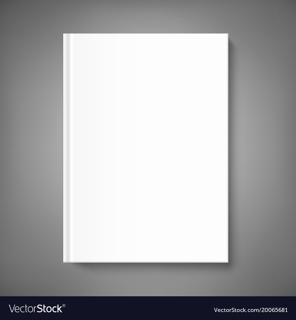 Blank Book Cover Template On Grey Background
