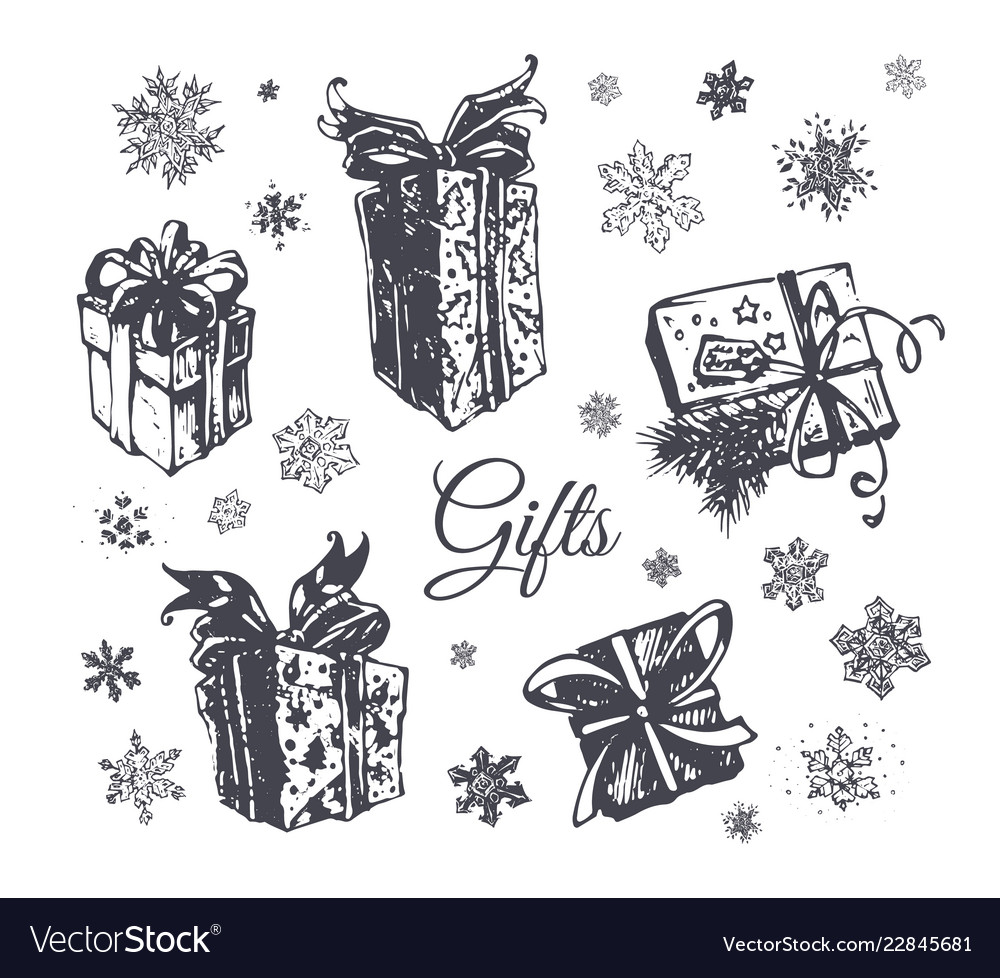 Christmas gift box hand drawn icons set