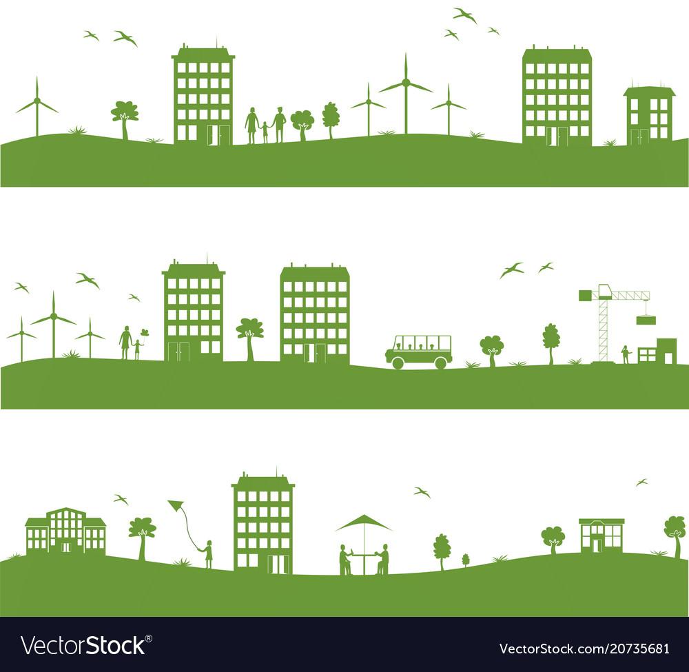 City with cartoon houses green eco panorama