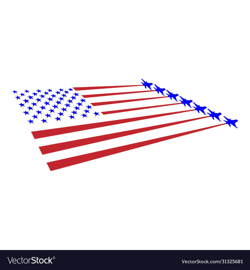 Flag usa and military planes take off from the