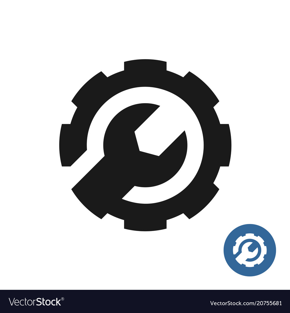 Gear and wrench icon service support logo