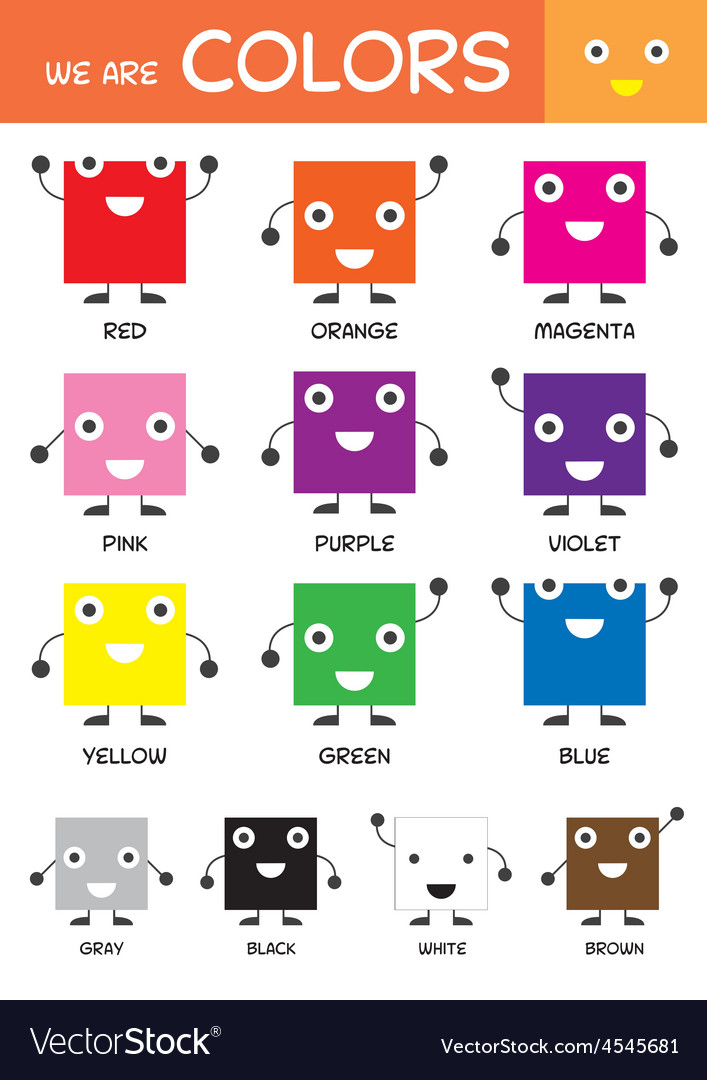 Kids Basic Colors Chart Royalty Free Vector Image