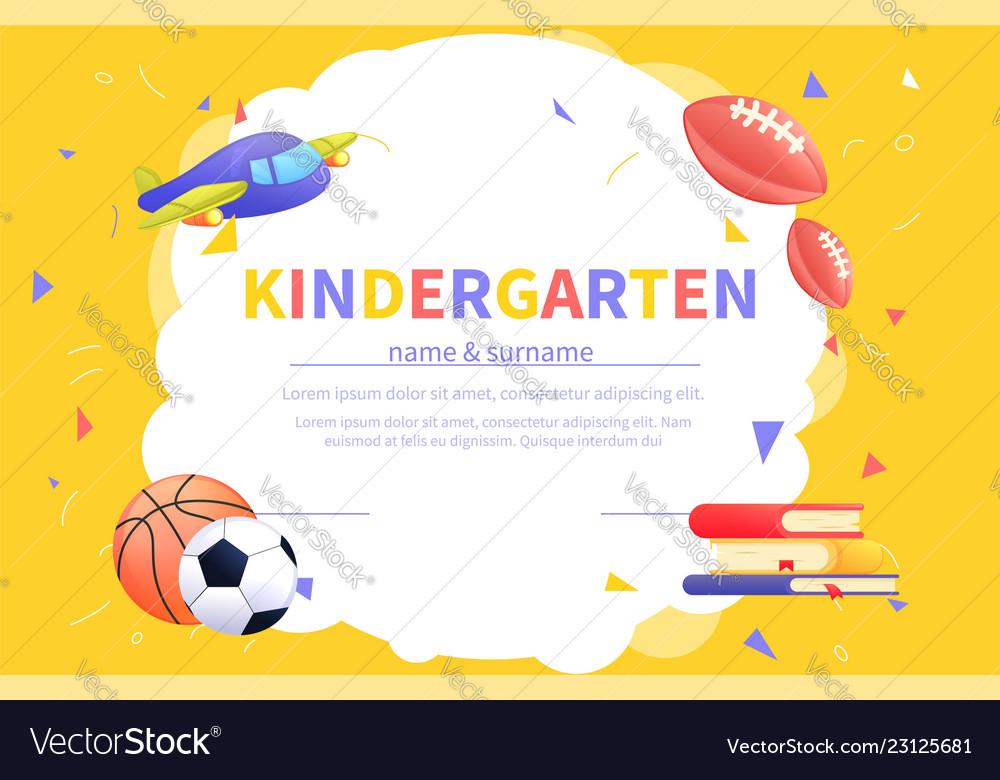 kindergarten certificate templates for student vector image