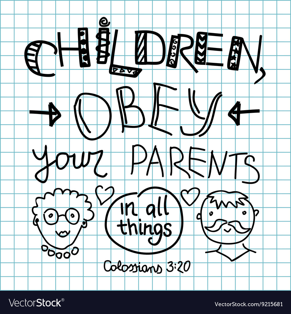 Lettering Bible Children obey your parents