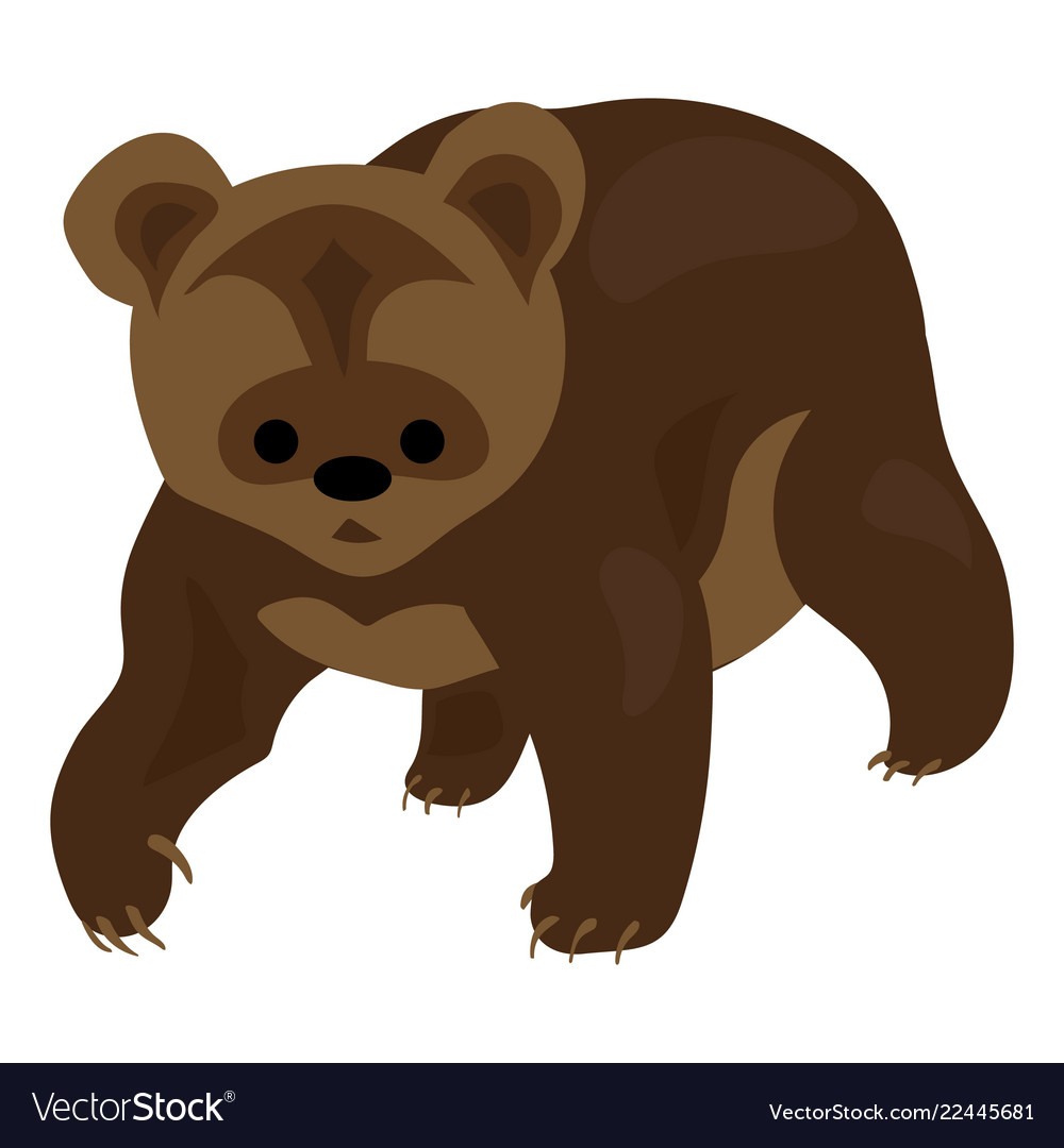 Little brown bear icon cartoon style