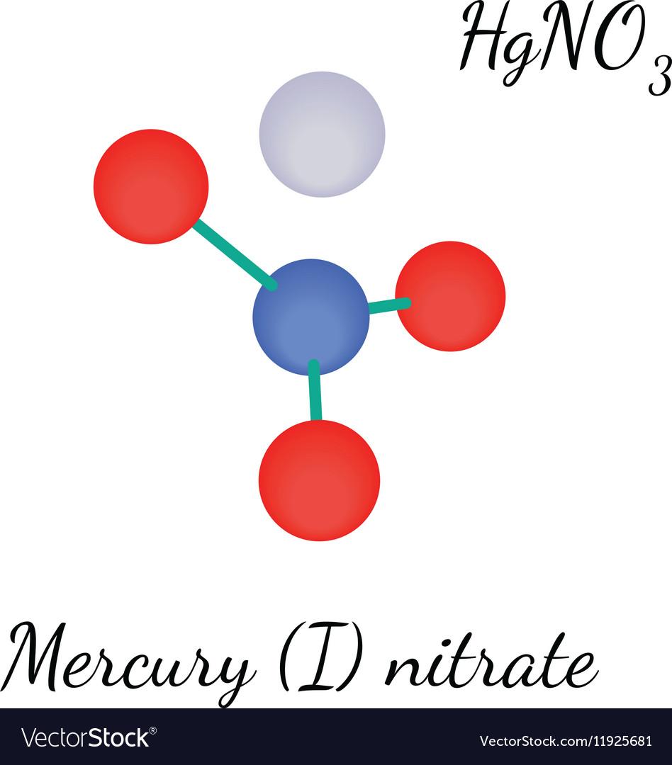Mercury I nitrate HgNO3 molecule vector image