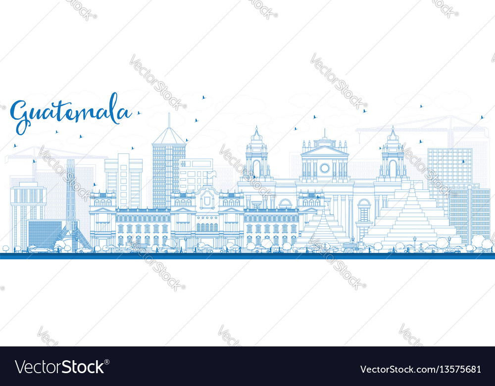 Outline guatemala skyline with blue buildings