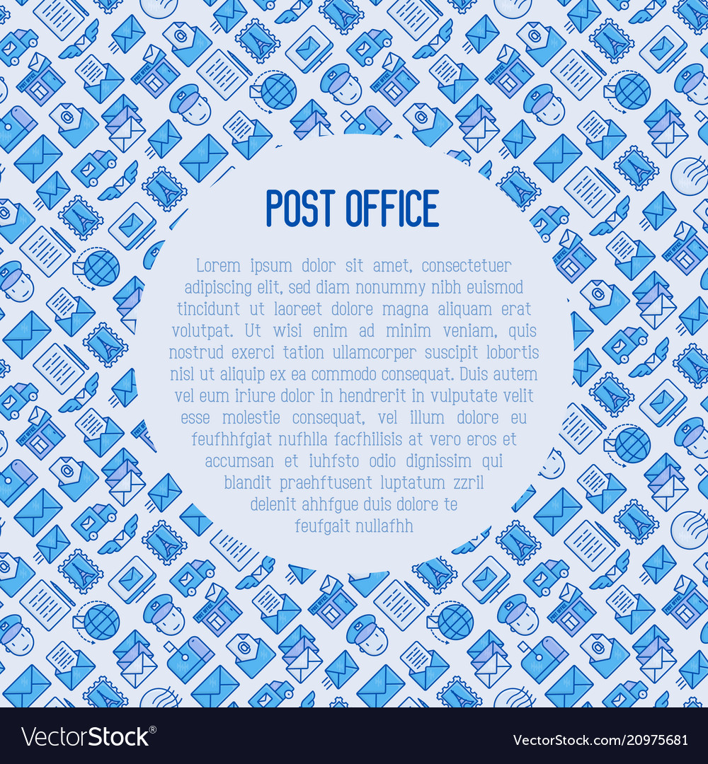 Post office concept with thin line icons