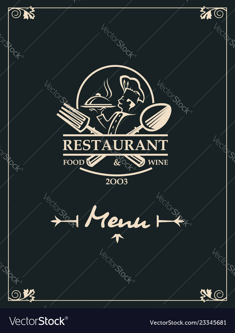 Restaurant menu with kitchenware and chef