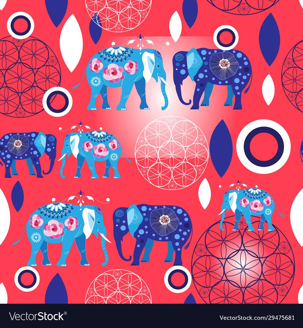Seamless bright pattern blue elephants