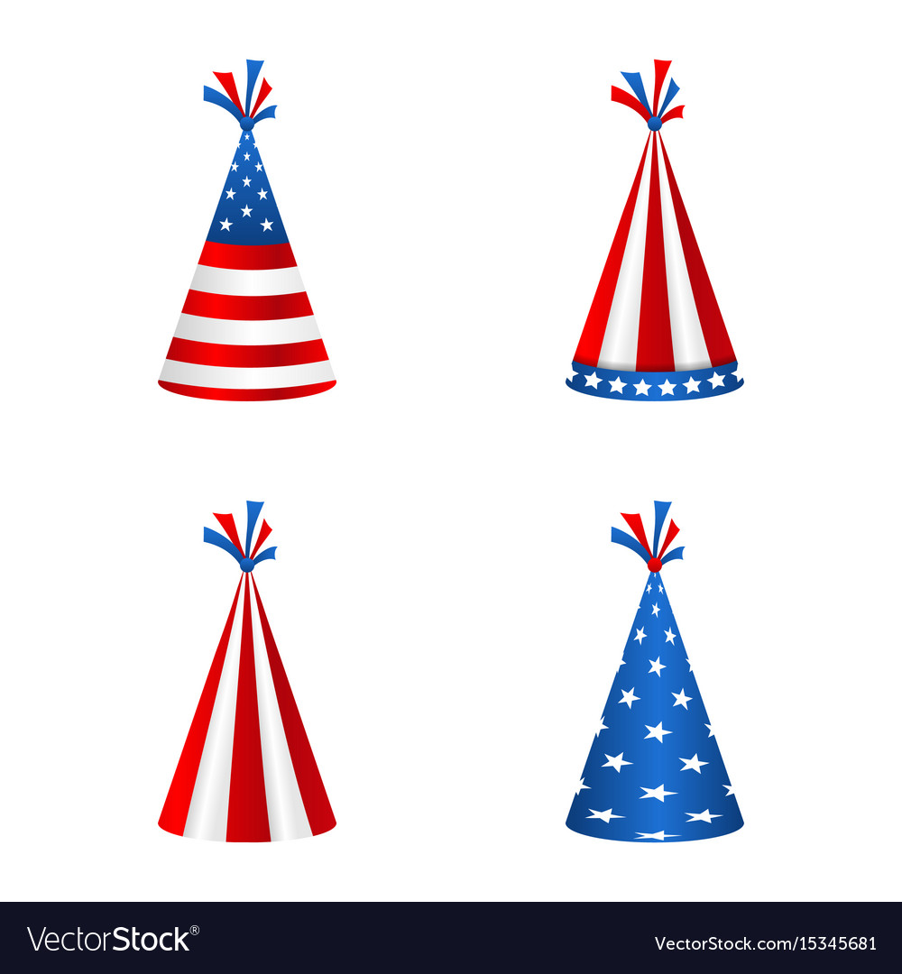 Set party hats with flag united states of