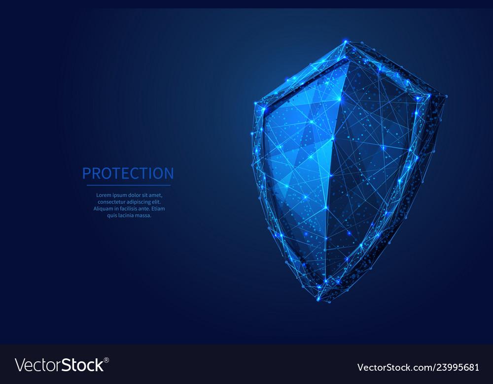 Shield low poly blue