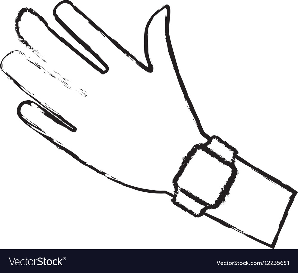 Sketch hand with smart watch wearable technology