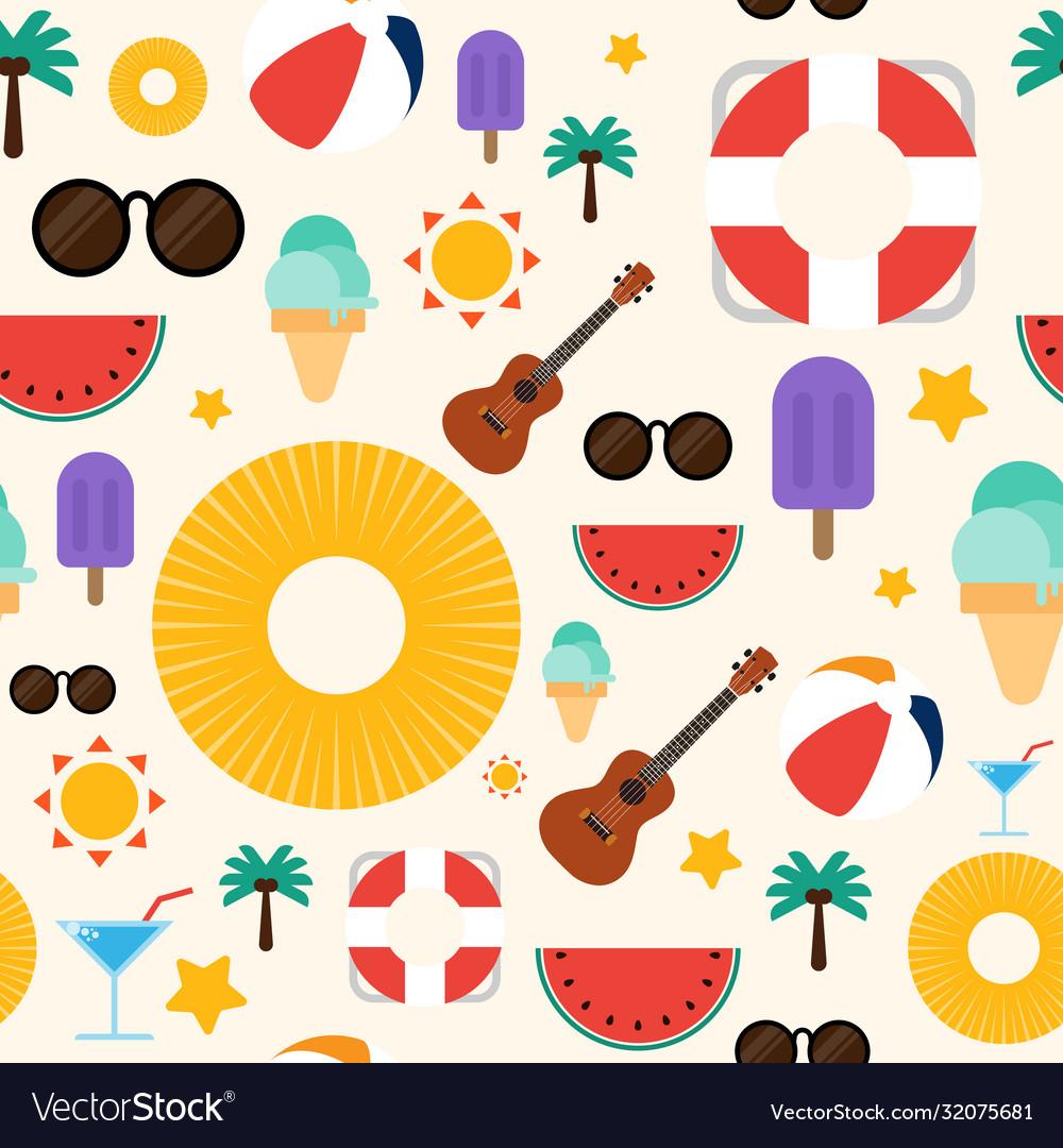 Summer concept seamless pattern background flat