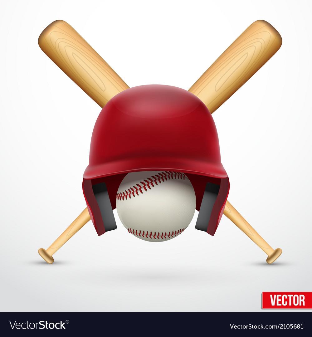 Symbol of a baseball Helmet ball and two bats