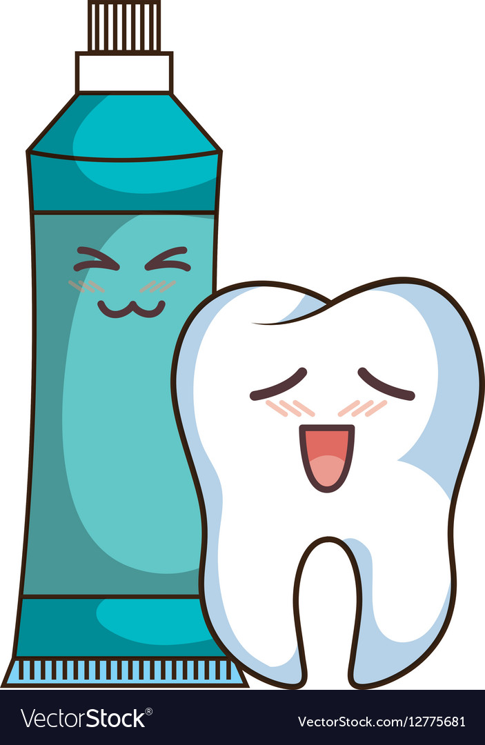 Teeth funny character with toothpaste kawaii style