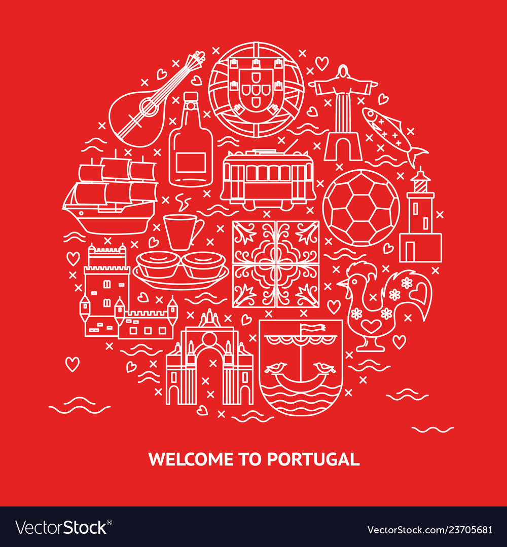 Welcome to portugal round concept with icons in