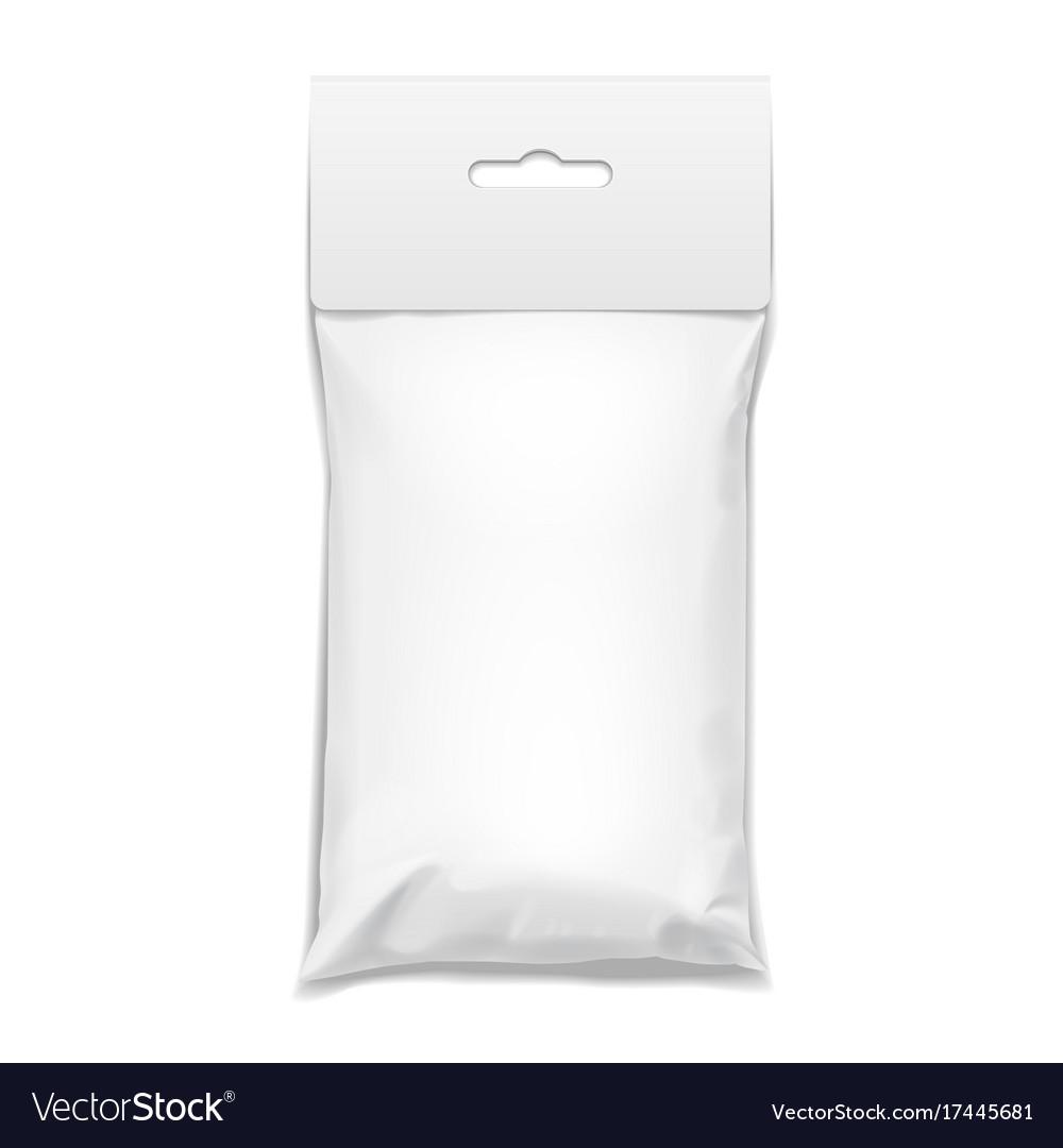 White realistic polyethylene bag with hang slot vector image