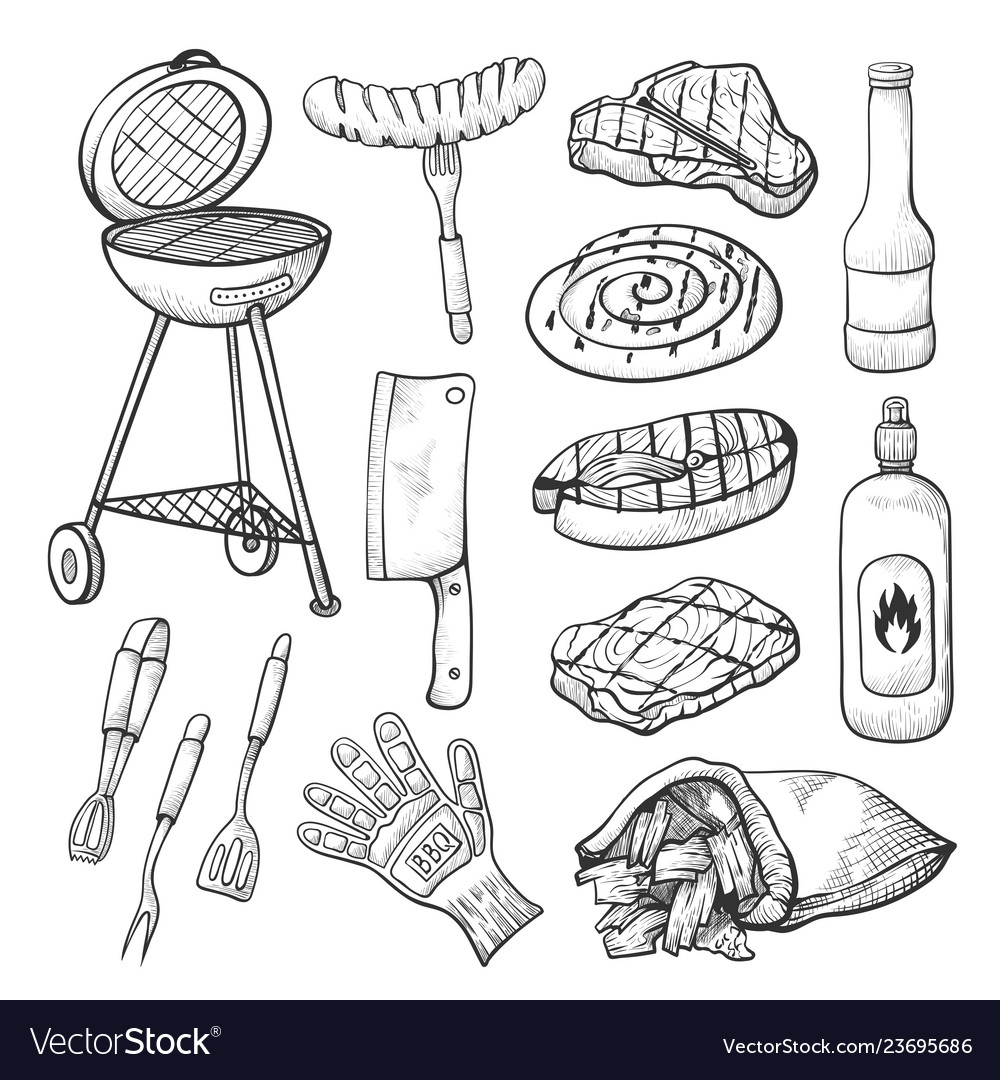Bbq sketch set barbecue and grill tools