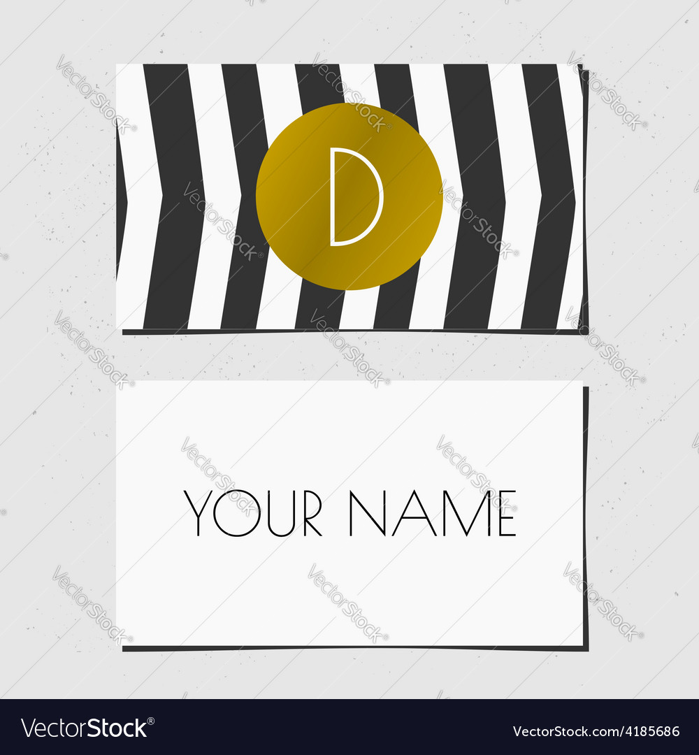 Business card template in golden black and white
