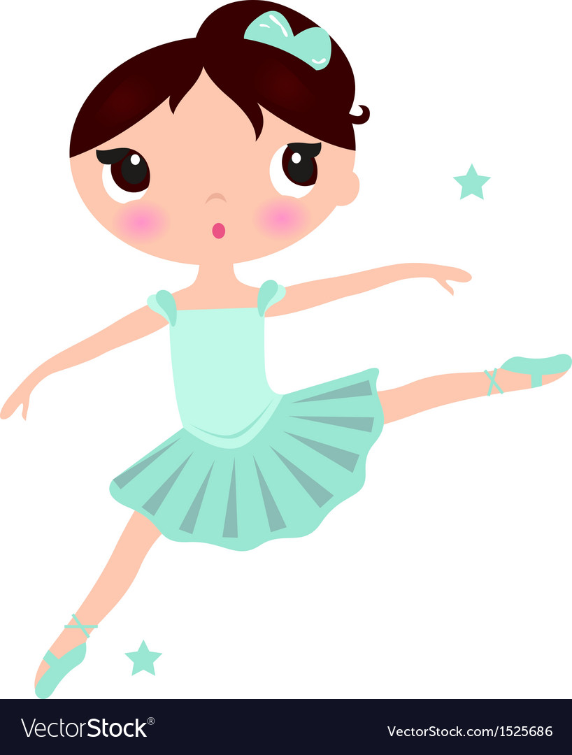 Cute cyan Ballerina girl isolated on white