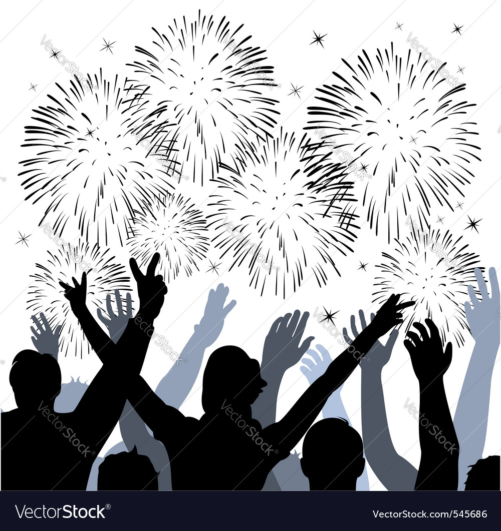 Fireworks with silhouettes of happy people vector image