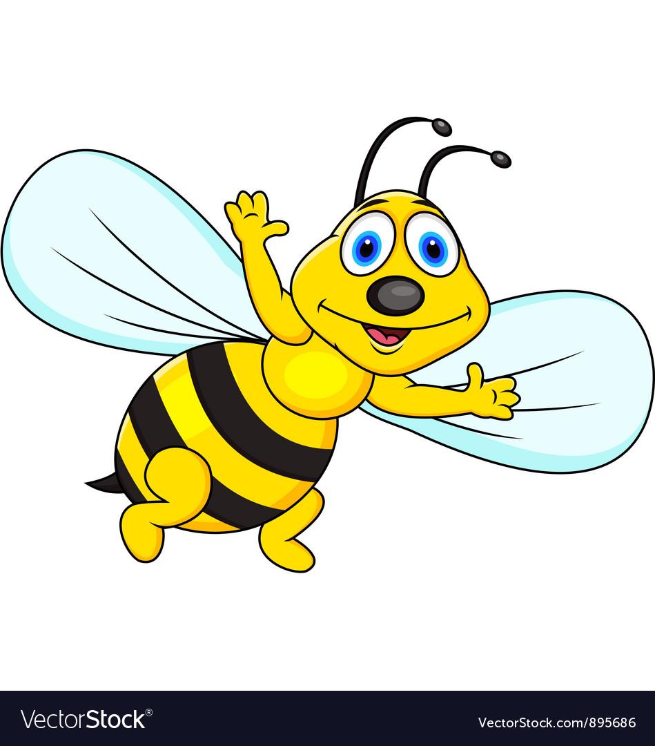 Funny Bee Cartoon Royalty Free Vector Image Vectorstock