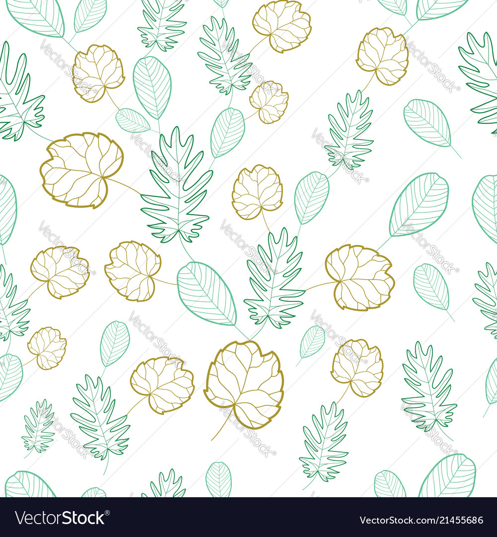 Hand draw tropical leaves seamless pattern