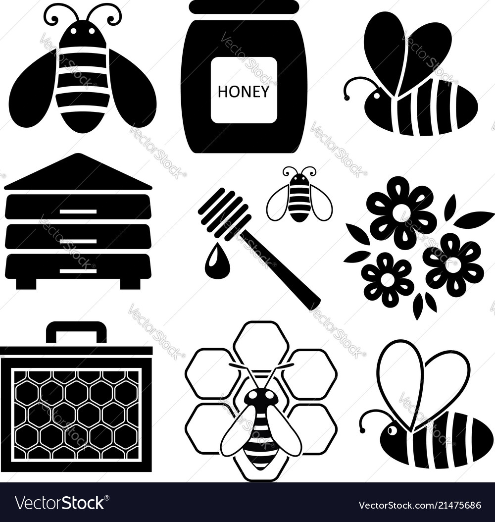 Icons of bees and honey business