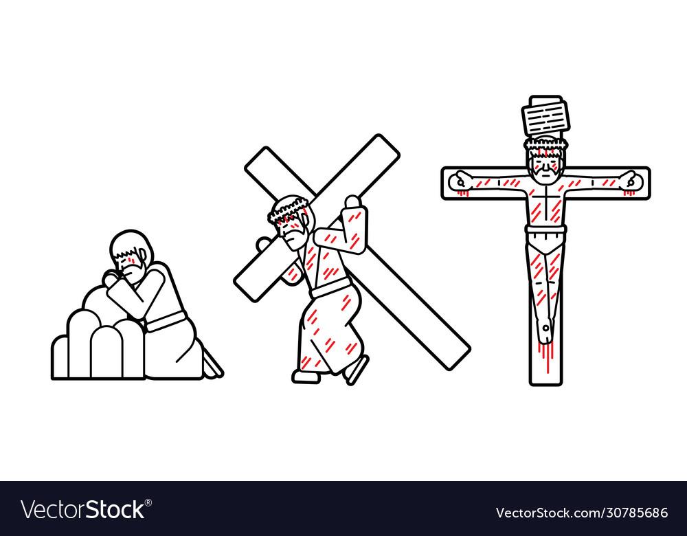 Jesus pray and crucifix icon cartoon graphic