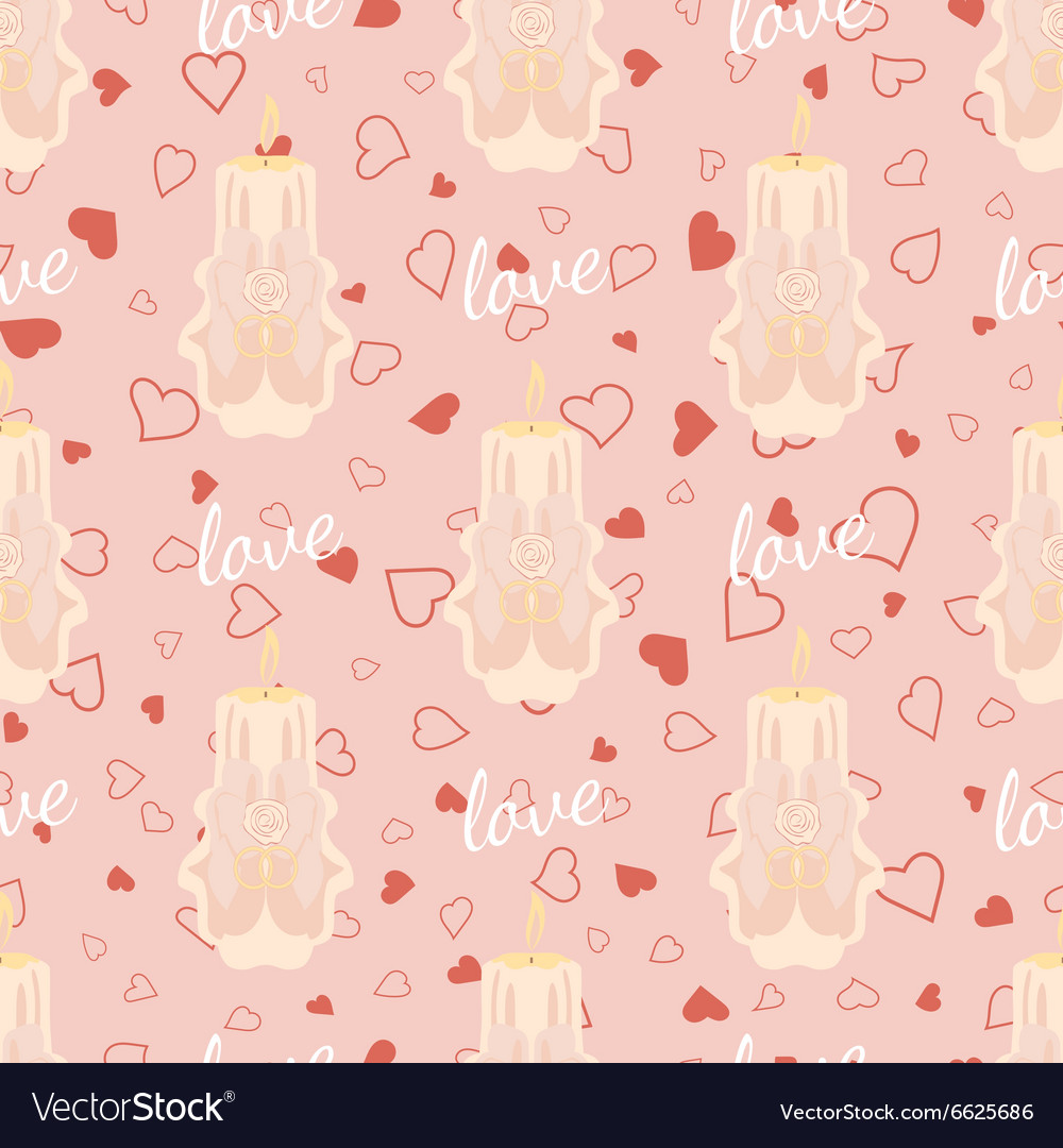 Pink wedding seamless pattern with candles vector image