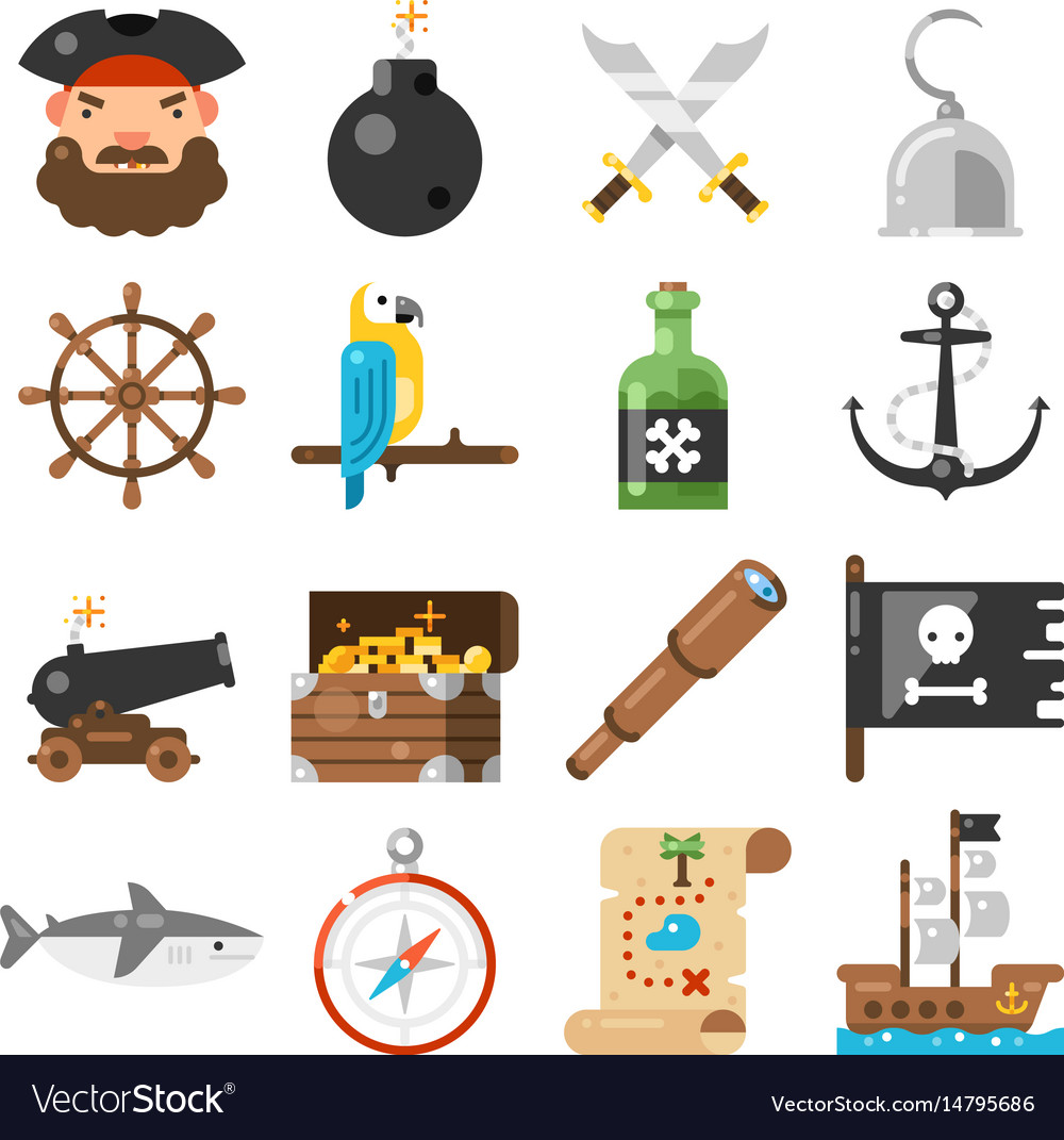 Pirates icons set on white background vector image