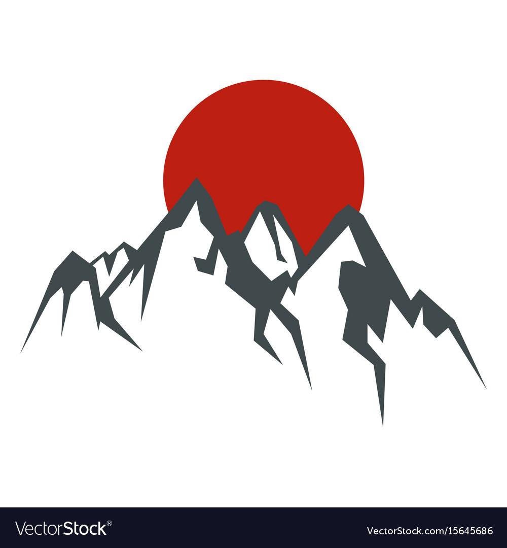 Rock mountain silhouette wit