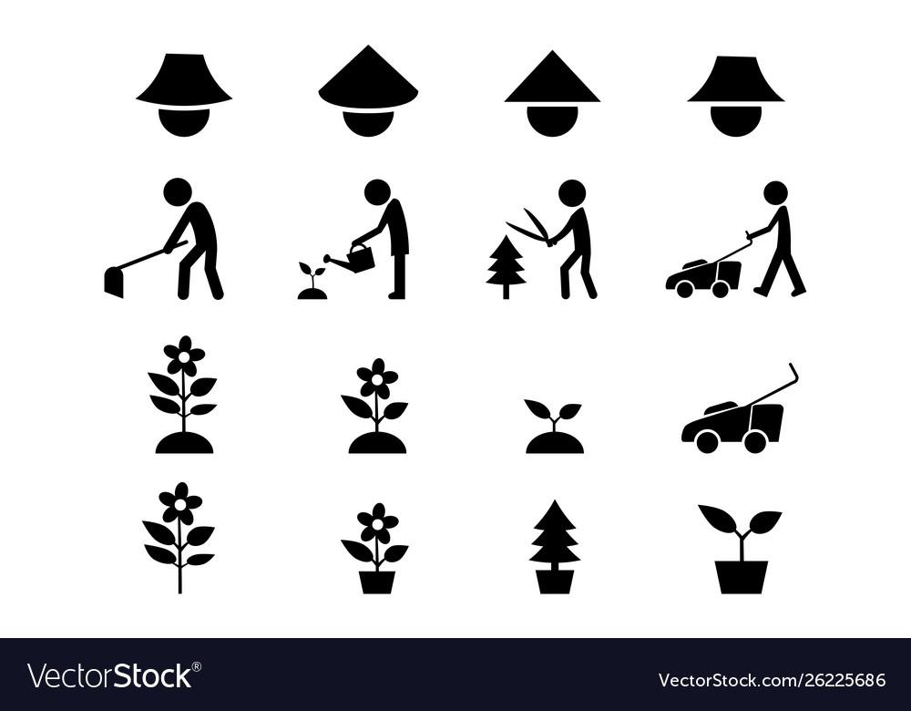 Set icon for gardener and famer art