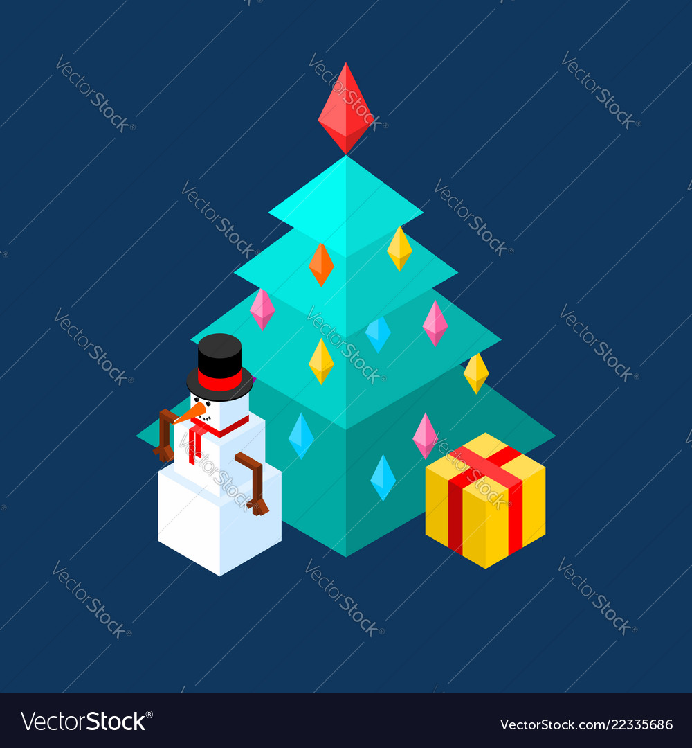 Snowman and christmas tree isometric style