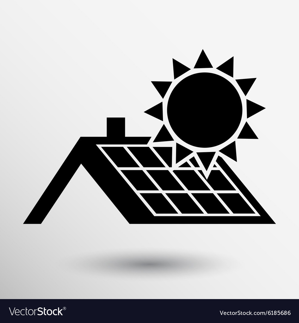 Solar Panels Roof Icon Button Logo Symbol Concept Vector Image