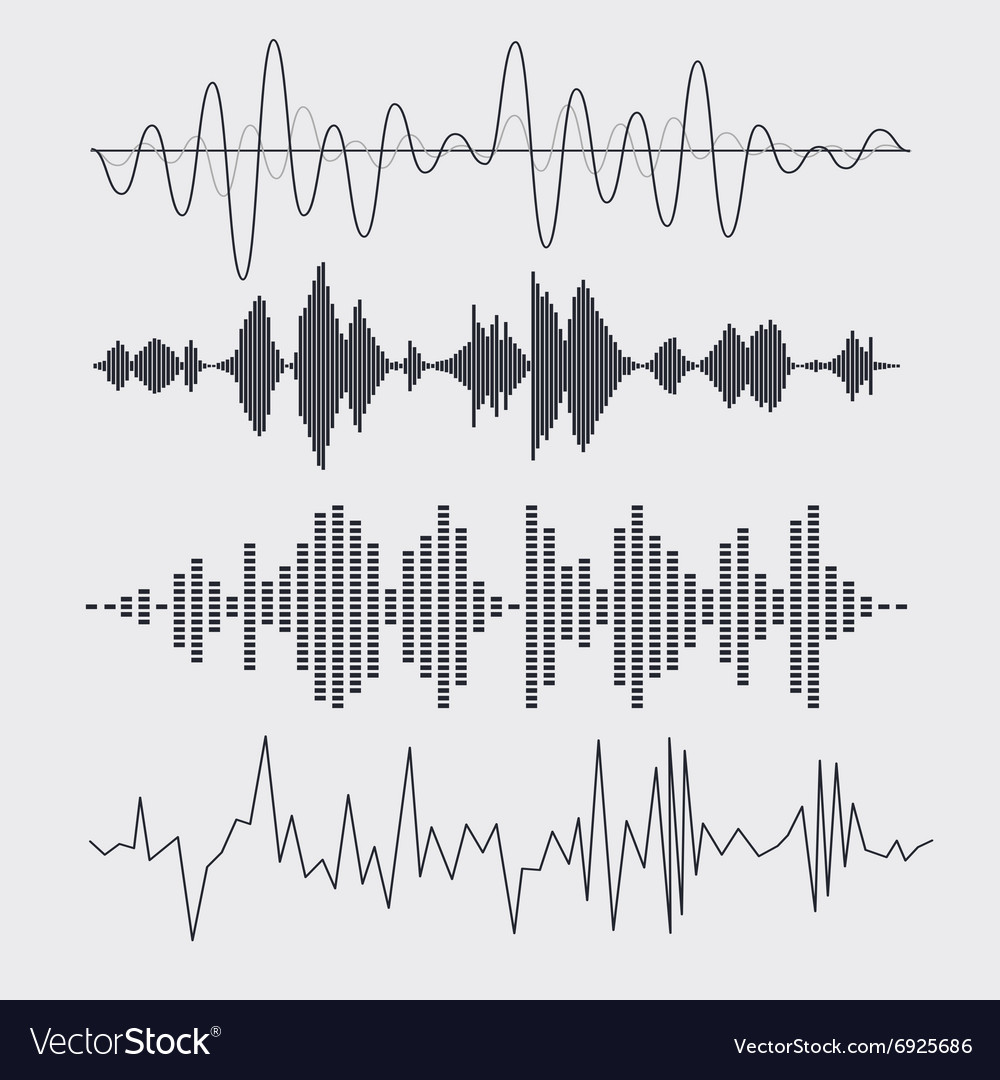 Sound waves set Music vector image