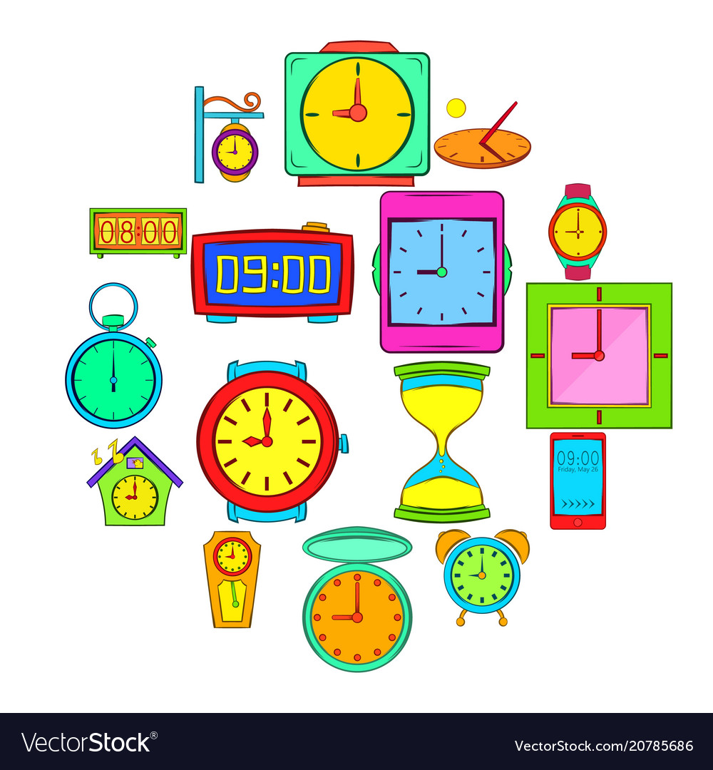 Time and clock icons set pop-art style