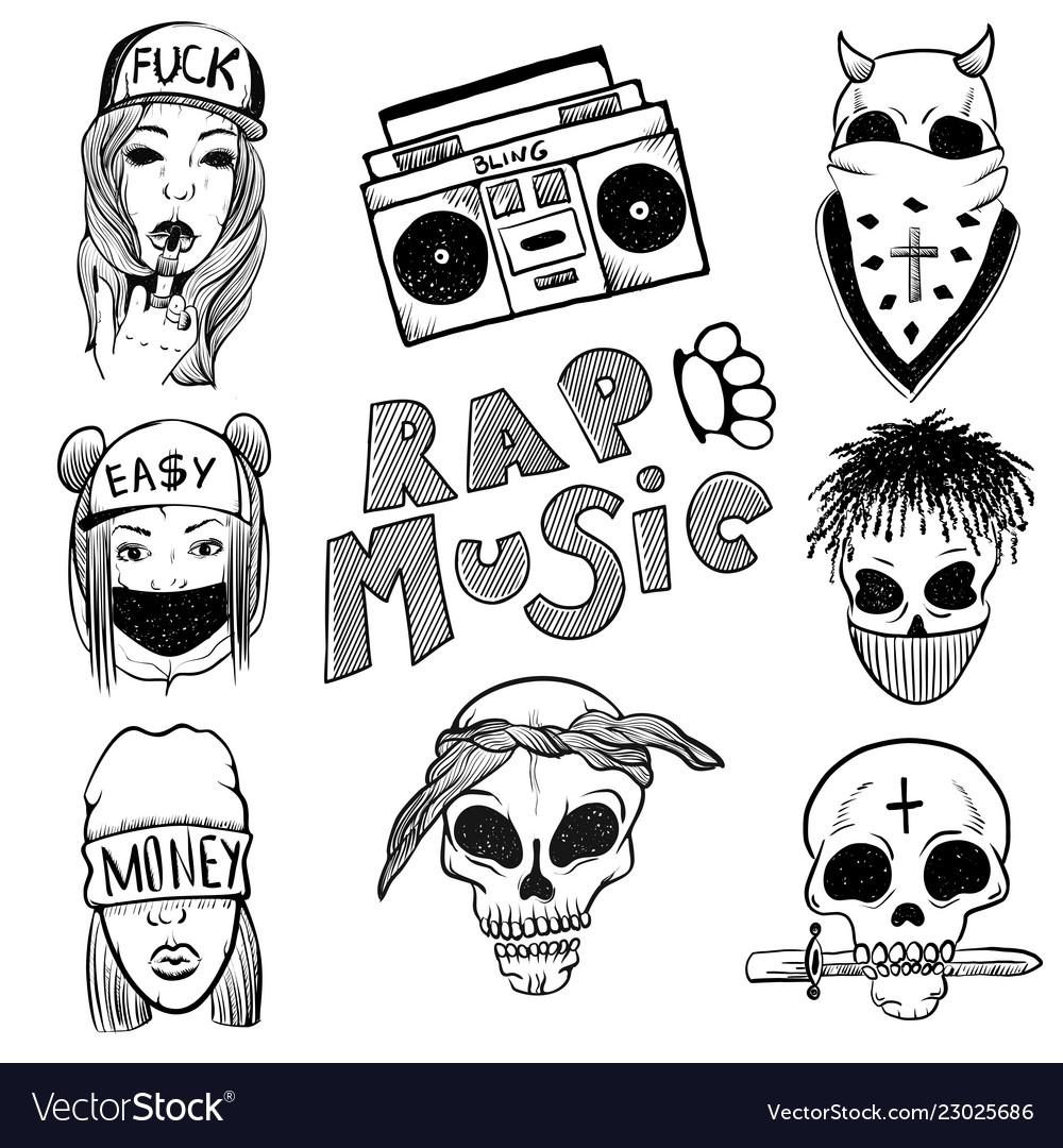 Urban street hip hop music girl boy skull rapper