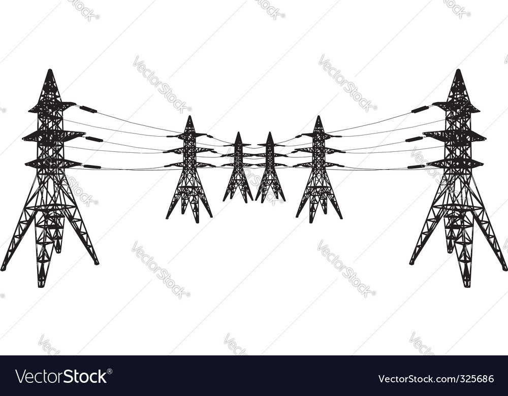 Vector silhouette of power lines vector image