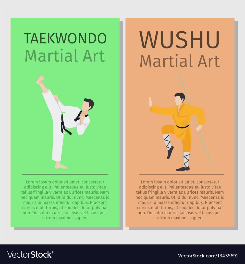 Asian martial arts taekwondo and wushu