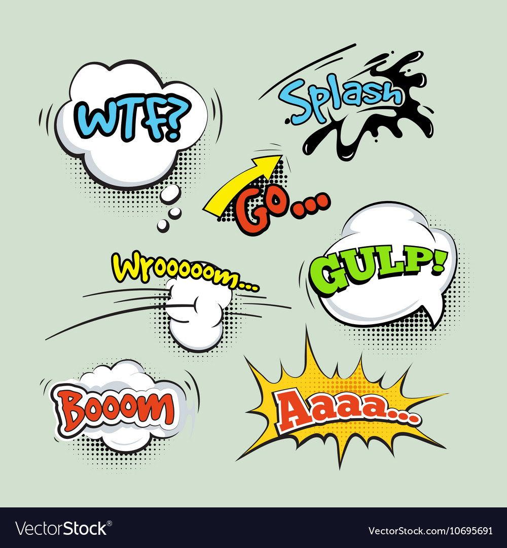 Comic Sound Effects Cartoon Set Royalty Free Vector Image