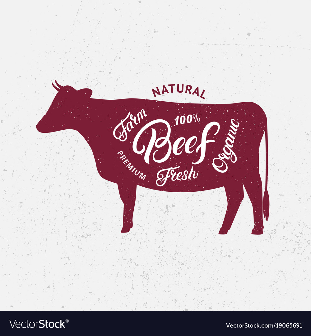 Cow silhouette and hand written lettering words